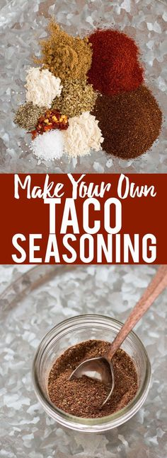 Learn how to make your own taco seasoning! I'll never buy store bought again! So much cheaper, healthier and tastes better! (Whole 30 Recipes Taco) Make Taco Seasoning, Seasoning Mixes, Seasoning Recipe, Homemade Spices, Homemade Seasonings, How To Make Taco, Food To Make, Paleo Dessert, Mexican Dishes