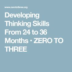Developing Thinking Skills From 24 to 36 Months • ZERO TO THREE