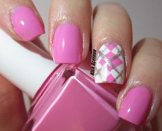 Pink Argyle Nails Nail Design Nail Art <3VERY PRETTY<3 SKILLFUL LINE WORK! @