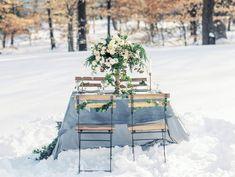 blue marble linens wedding, ivy wedding chair decor from snow winter virginia wedding inspiration