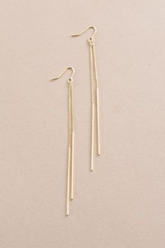 Linden Dangle Earrings | Gold (14K) $28 // Gold and sleek matchstick dangle earrings that fall along the neckline.
