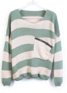 Green Stripes Loose Sweater with Pocket pictures
