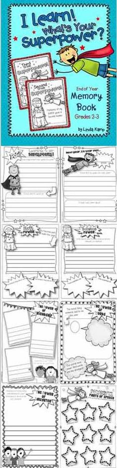 Formatted in the style of a graphic novel your kiddos will love, this end of year memory book includes pages for students to showcase their memories as well as their learning superpowers. Students also write about the powers of friendship, laughter, celebration, our words, kindness and respect. Use all of the pages or pick and choose the superpowers you want your students to remember most! $