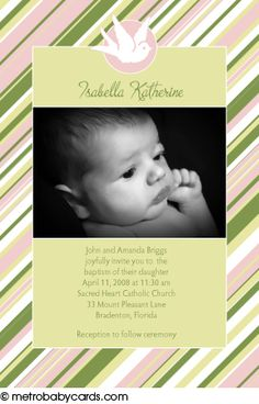 Photo Baptism/Christening Invitations :: Sweet Stripes Pink Design