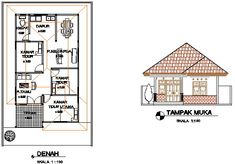 Denah Rumah Dan Tampak - Kreasi Rumah Home Design Plans, Floor Plans, House Design, How To Plan, Modern, Architecture, Trendy Tree, House Design Plans, Architecture Illustrations