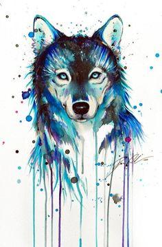 Lobo pintado con acuarelas <3