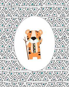 Woodland Animal Prints - Teal, Orange, Gray - Gender Neutral - Bear, R – Wall and Wonder