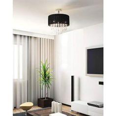 Possini Euro Jolie Black Fabric Shade Crystal Ceiling Light - #95855   LampsPlus.com