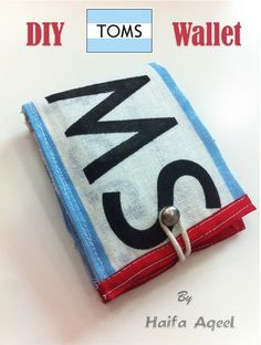 DIY TOMS wallet! Must do. I have a ton of the flag/bag things that come with the shoes.