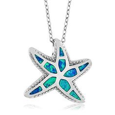925 Sterling Silver Created Opal Nautical Starfish Pendant with 18 Inch Silver Chain *** Check this awesome product by going to the link at the image.