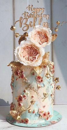 14th Birthday Cakes, Elegant Birthday Cakes, Pretty Birthday Cakes, Birthday Cake With Flowers, Beautiful Cake Designs, Gorgeous Cakes, Pretty Cakes, Pastel Cakes, Luxury Cake