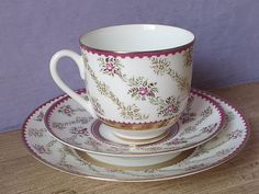 Vintage Lomonosov USSR Tea Cup Trio Fuschia Pink Roses Teacup and Saucer and Plate