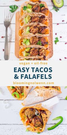 These Vegan Taco Pockets with Falafels are easy to make delicious oil-free and perfect for a quick lunch or dinner. These Vegan Taco Pockets with Falafels are easy to make delicious oil-free and perfect for a quick lunch or dinner. Vegan Entree Recipes, Vegan Mexican Recipes, Vegan Dinners, Healthy Dinners, Sin Gluten, Gluten Free, Taco Pockets, Vegan Main Course, Easy Vegan Lunch
