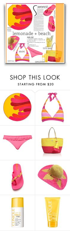 """lemonade+beach"" by emcf3548 ❤ liked on Polyvore featuring Marimekko, Aéropostale, Marie Meili, Tory Burch, IPANEMA and Clinique"
