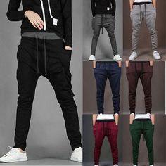 Mens Long Jogger Harem Sport Pants Loose Casual Gym Jogging Trousers StretchWear