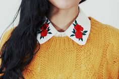 rose embroidered collar