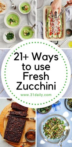 It's fresh zucchini season! Here are recipes: from appetizers to snacks, main dish ideas, soups and more. And, of course, desserts too! Veggie Dishes, Vegetable Recipes, Food Dishes, Veggie Food, Main Dishes, Gourmet Recipes, Vegetarian Recipes, Cooking Recipes, Healthy Recipes