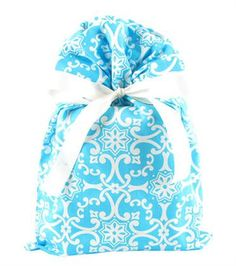 100% cotton fabric gift bag with eco-satin recycled ribbon. Something Blue from VZWraps. http://www.vzwraps.com