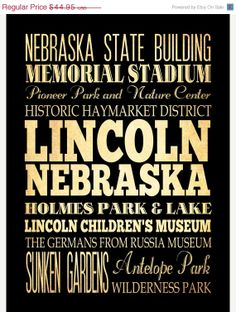 ON SALE Lincoln Nebraska Typography Art Poster / by LegacyHouseArt, $39.95