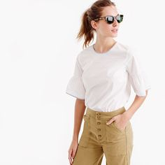 Your everyday top just got a major upgrade, thanks to a button-up back, bell sleeves and classic tipped shirting fabric for a special touch. J Crew Tops, Preppy Look, Petite Women, Black Ruffle, Spaghetti Strap Dresses, White Tops, Girl Fashion, Bell Sleeve Top, Clothes For Women