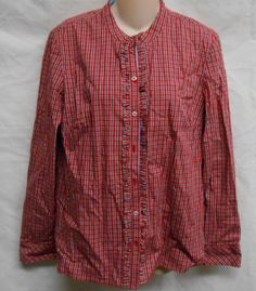 NWOT Womens Tommy Hilfiger Button Down Shirt Long Sleeve Red Multi Large Top #TommyHilfiger #ButtonDownShirt #Casual