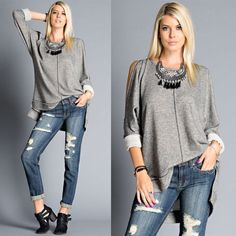 NATALYA cold shoulder cut out top - CHARCOAL Two Tone French Terry Cold Shoulder Cut Out Top - shoulder cut out down to sleeve - high-low hem *accessories not included Fabric 65% POLYESTER 35% COTTON Made in U.S.A. PRICE FIRM, NO TRADE Bellanblue Tops Tees - Long Sleeve