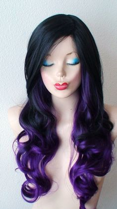 Black / Purple Ombre wig. Long curly layered hair with by kekeshop Is it weird to want to wear wigs? I think I dig it