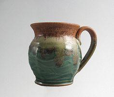 12 oz handmade pottery coffee mug - wavy green