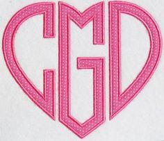 Heart Applique Monograms Embroidery Fonts | Apex Embroidery Designs, Monogram Fonts & Alphabets