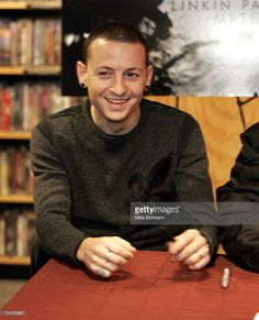 Chester Bennington of Linkin Park during a book signing at Borders book store in downtown Manhattan on December 14, 2004.