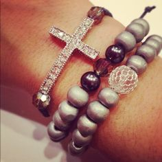 Cross bracelet set by AroundMyWrist on Etsy, I likey Women Accessories, Jewelry Accessories, Fashion Accessories, Fashion Jewelry, I Love Jewelry, Jewelry Box, Jewelry Making, Jewlery, Jewelry Bracelets