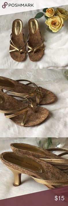 Antonio Melani Gold Sandals Beautiful Gold stripes sandals Slip on. Women Size 5.5. ANTONIO MELANI Shoes Sandals