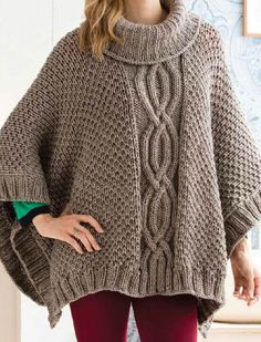Cabled Poncho Knitting Pattern and Kit - Knit this poncho on sale for under $25 with yarn and pattern included. Love this soft cozy poncho with cable section and loose turtleneck collar. Quick knit in chunky yarn.
