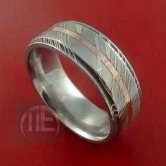 Damascus Steel 14K Rose Gold Ring Wedding by StonebrookJewelry 300