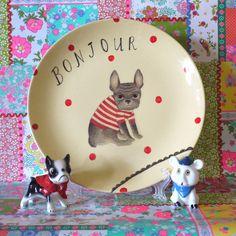 Bonjour Polkadot French Bulldog Vintage Illustrated Large Plate. $45.00, via Etsy.