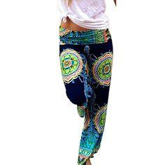 Lightweight Summer Wide Leg Harem Genie Trousers Beach Yoga Travel Festival Holiday Navy Blue Boho Elephant Drawstring Waist Hippie Pants