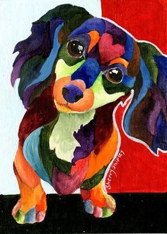 PUPPY LOVE Long Hair Dachshund Original 5x7 Acrylic Framed DOG Painting Sherry