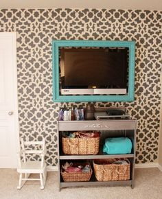 gray DIY stenciled accent wall using the Zamira Allover Stencil from ...