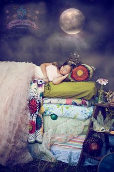 """""""The princess and the pea"""". Sooooo cute witha bunch of handmade blankets ands pillows"""