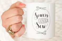 Handlettered Coffee Mug for Sewers. Sewing mug. Perfect as a christmas gift for sew happy tea or coffe lover. A cup for crafty people! Handmade / handprinted 11 oz by DEEZ dutch on Etsy