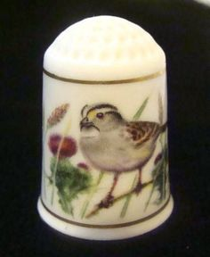 Franklin Mint Garden Birds Thimbles: White-Throated Sparrow