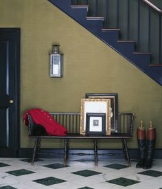 French Khaki - Featured In Modern Naturals, Thoroughbred . . .     Find more: Green | Foyer | Hallway  . . .         French Khaki -   RL1513,  Wall . . .        Iron Blue -   RL1856,  Stairs