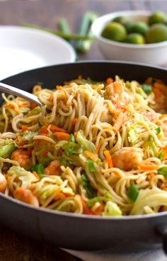 Stir Fried Noodles with Shrimp and Vegetables (Filipino Pancit Canton) Recipe