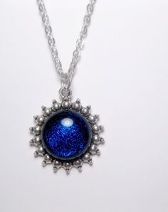Indigo Plum Sparkle Galaxy Pendant Necklace