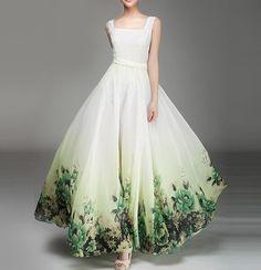Summer chiffon long dress lady women clothing gown dress by handok, $98.00