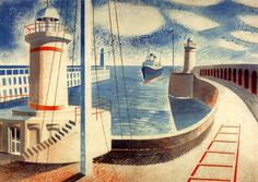 'Newhaven Harbour' by Eric Ravilious.  One of the series 'Lithographs for Schools', 1937.