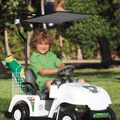 Give your little ones what they've always dreamed about! A real, life-like golf cart that can be driven by them! This 6V rechargeable golf cart features forward and reverse motions, foot pedal accelerator, horn and back up warning buzzer and large realistic golf cart tires.