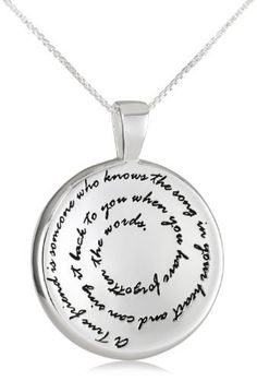 """Sterling Silver """"A True Friend Is Someone Who Knows The Song In Your Heart and Can Sing It Back To You When You Have Forgotten The Words"""" Pendant Necklace, 18"""" Amazon Curated Collection. $30.00. A wonderful gift for a friend's upcoming birthday or just because.. Made in Thailand. Sterling Silver contains a polished finish for radiant shine."""