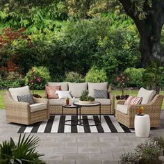 Better Homes & Gardens River Oaks Wicker Conversation Set with Patio Covers Resin Patio Furniture, Outdoor Garden Furniture, Outdoor Patio Decorating, Deck Furniture Layout, Furniture Ideas, Outside Furniture Patio, Farmhouse Outdoor Furniture, Patio Decorating Ideas, Wicker Patio Furniture Sets