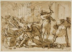 From the Harvard Art Museums' collections Christ Driving the Money-Changers from the Temple; Cleansing Of The Temple, Harvard Art Museum, Grisaille, Museums, Fresco, Vintage World Maps, Religion, Christian, Money